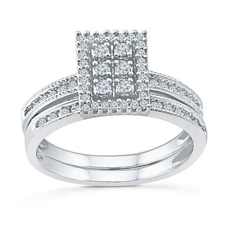 Womens 1/3 CT. T.W. Genuine White Diamond 10K White Gold Bridal Set, 5 , No Color Family
