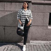 Bluse mit Taschen vorn und Plaid Muster