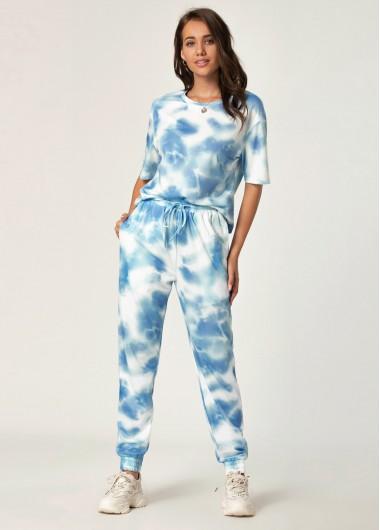 Tie Dye Print Top and Drawstring Waist Pants - M