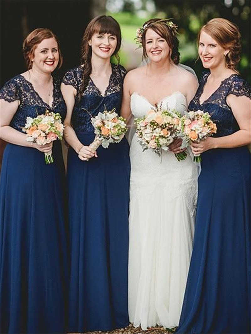 Lace Floor-Length V-Neck A-Line Bridesmaid Dress