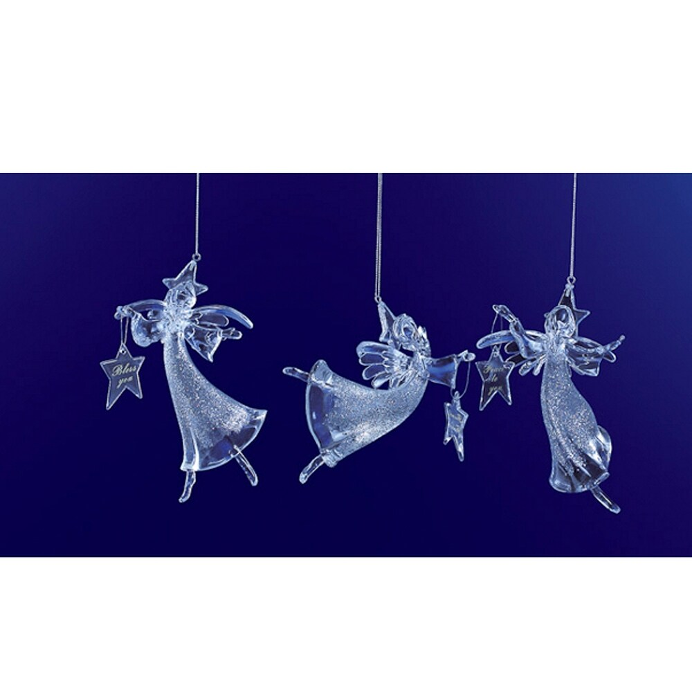 Club Pack of 12 Icy Crystal Christmas Glitter Angel Ornaments 6