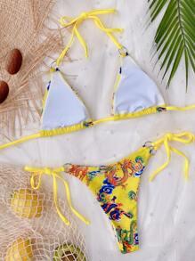 Dragon Print Triangle Tie Side Bikini Swimsuit