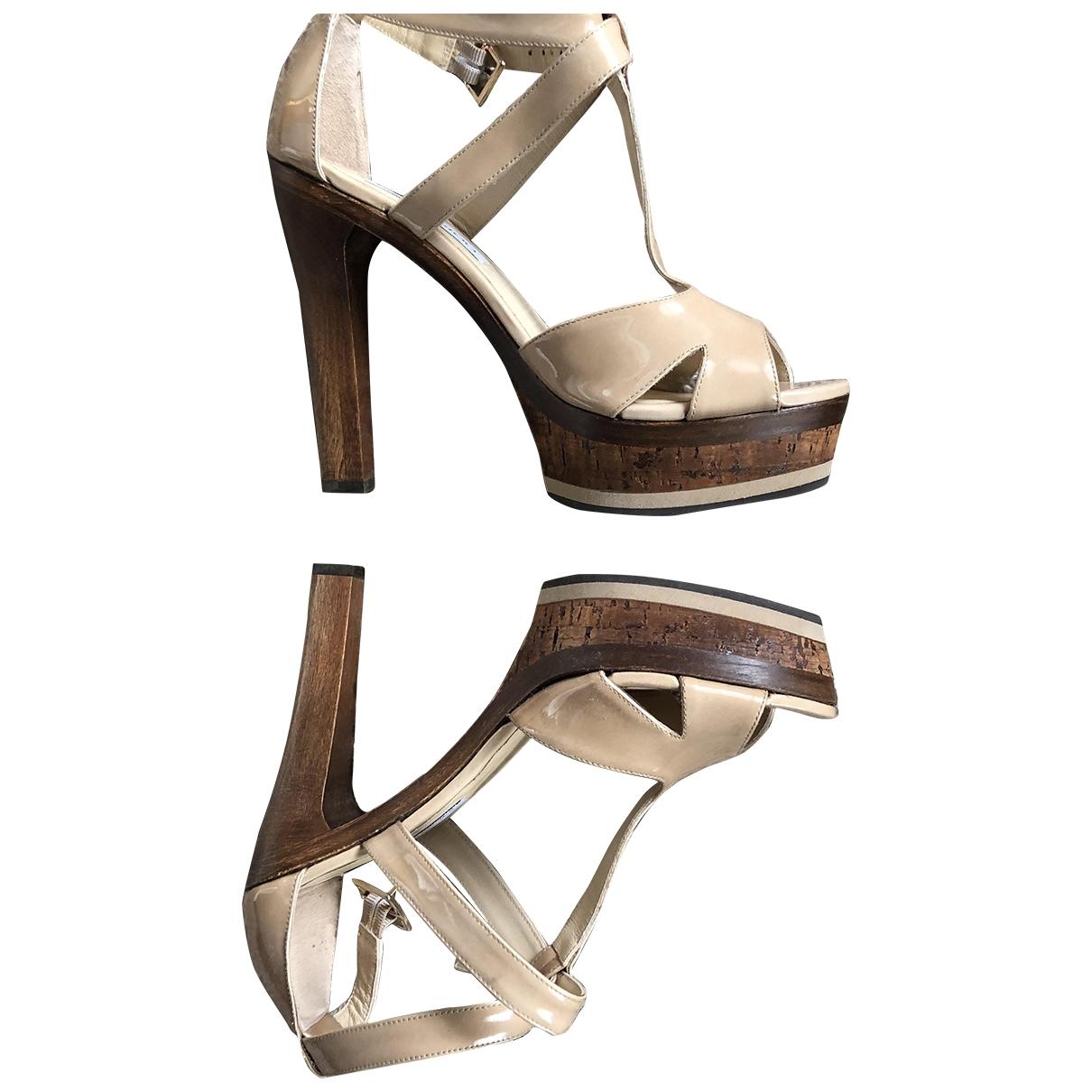 Jimmy Choo \N Beige Patent leather Sandals for Women 39 EU