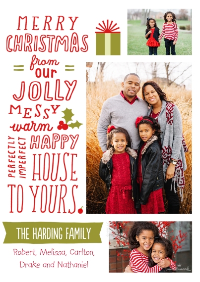 Christmas Photo Cards Flat Glossy Photo Paper Cards with Envelopes, 5x7, Card & Stationery -Jolly, Messy, Happy Christmas