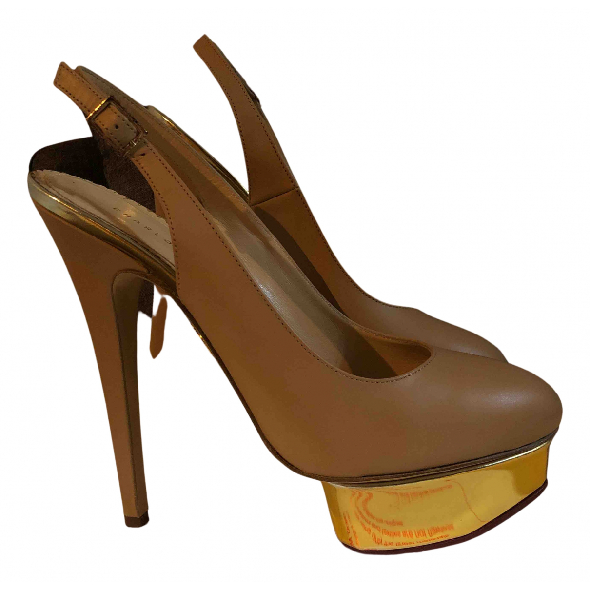 Charlotte Olympia Dolly Beige Leather Heels for Women 39 EU