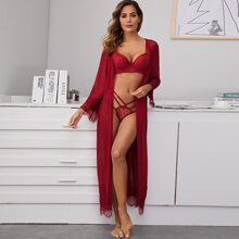 Lace Trim Mesh Robe Without Lingerie Set