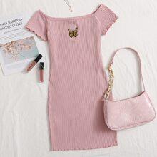 Strick Kleid mit gekraeuseltem Saum, Stickereien und Schmetterling Muster