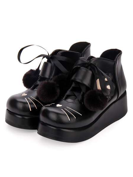 Milanoo Classic Lolita Bootie Pom Pom Lace Up Embroidery PU Black Lolita Shoes