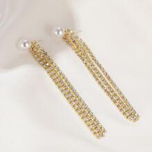Rhinestone Tassel Chain Drop Earrings