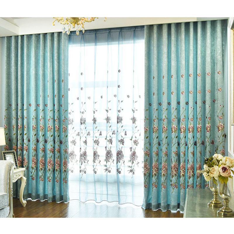 Elegant Peony Embroidery Decoration Sheer Curtains for Living Room Custom 2 Panels Breathable Voile Drapes for Living Room No Pilling No Fading No off