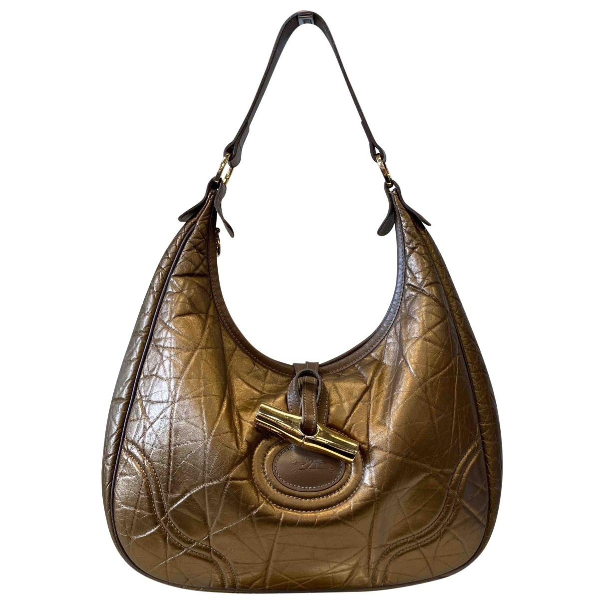 Longchamp - Sac a main   pour femme en cuir - dore