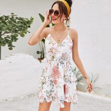Vestido de tirante bajo fruncido de cintura con cordon con estampado floral