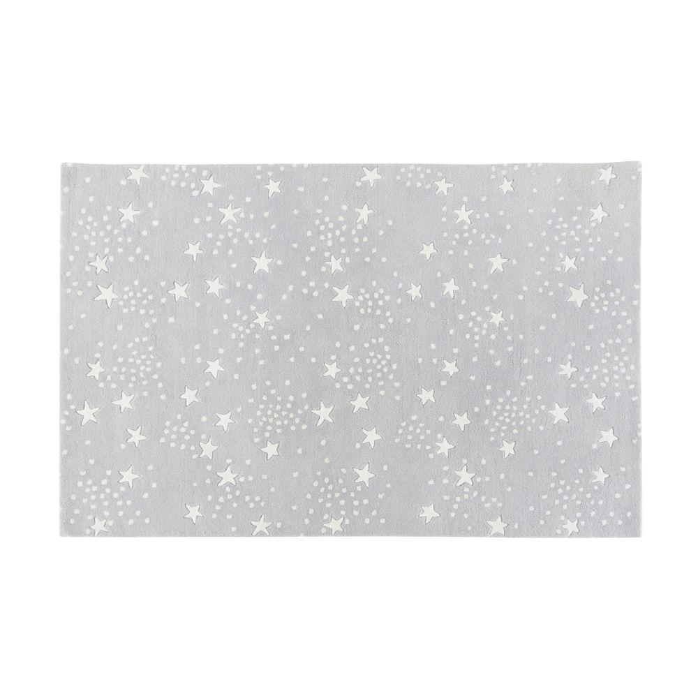 Decke aus Wolle und Baumwolle, grau mit Sternenmuster 120x180