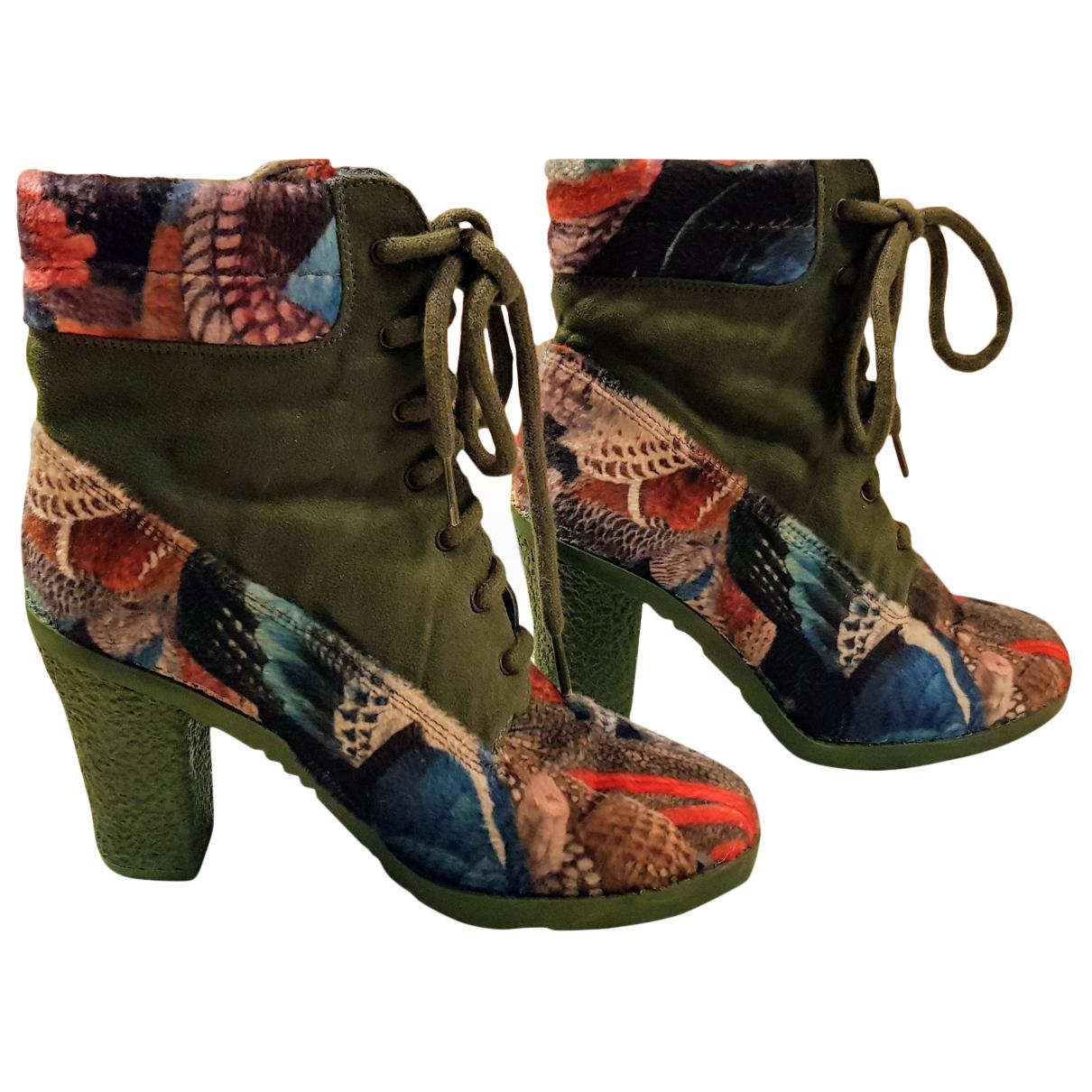 Desigual - Boots   pour femme en suede - vert