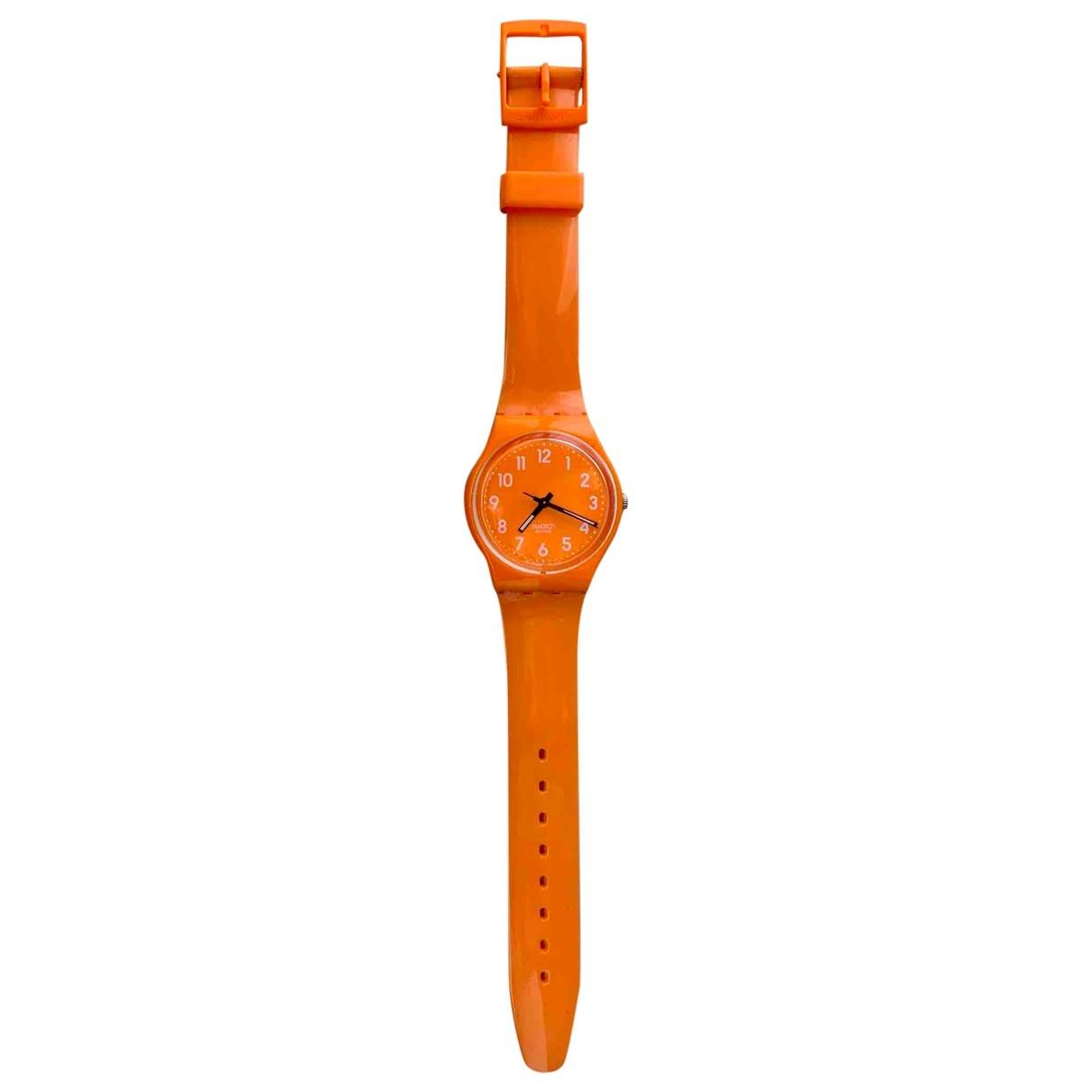 Swatch - Montre   pour homme en acier - orange