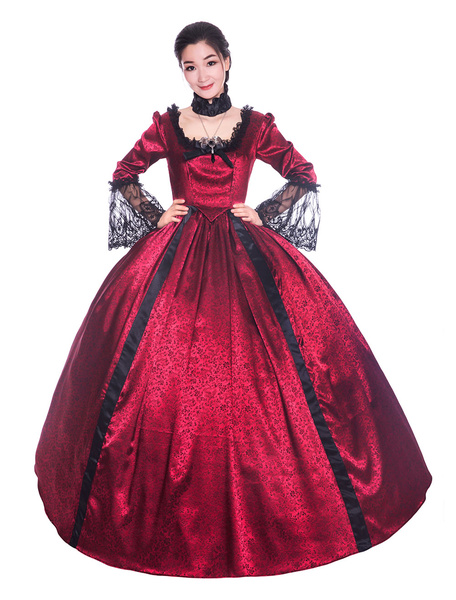 Milanoo Victorian Dress Costume Womens Bows Lace Satin trumpet Long Sleeves Square Neckline Victorian Era Style Dress Women Vintage Clothing