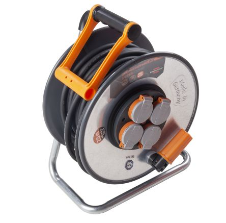 brennenstuhl 25m 4 Socket Type F - German Schuko Extension Reel, 230 V ac, IP44, Black