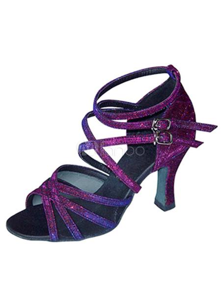 Milanoo Zapatos de bailes latinos de puntera abierta Tacon bobina de saten morados para baile