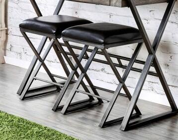 Glasby Collection CM3369BC-2PK Bar Stool with Dark Brown Leatherette Seat Cushion  Metal X-Shaped Legs and Made of Metal  Wood Veneer and Others in