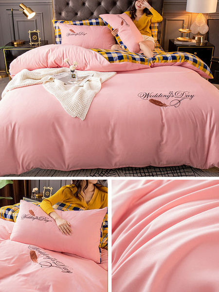 Milanoo Bedding Set 4-Piece Corduroy Pink Beddingroom Supplies