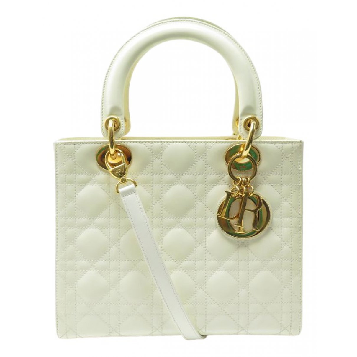 Dior Lady Dior White Patent leather handbag for Women \N