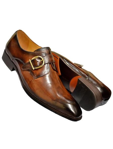 Carrucci Men's Burnished Calfskin Leather Monk Strap Shoes Brown