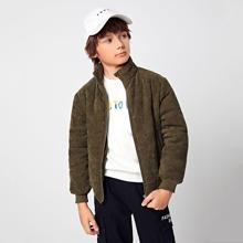 Kord Jacke mit hohem Kragen, Reissverschlussleiste und Polster