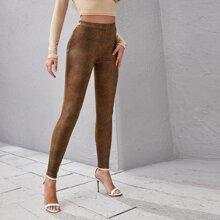 Pantalones ajustados PU de tie dye
