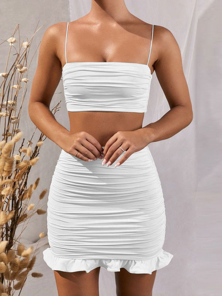 Milanoo Two Piece Sets Sexy Crop Top With Skirt