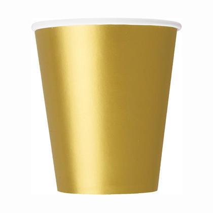 Tasses de papier de Or solide 9oz 8Pcs