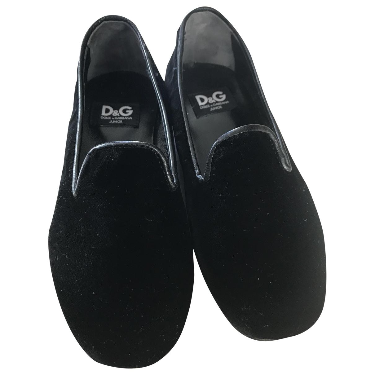 D&g \N Black Velvet Flats for Kids 26 EU