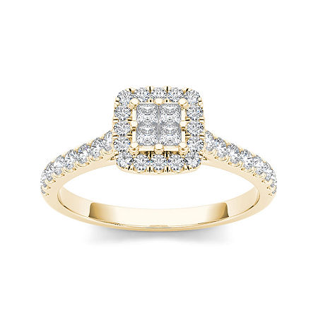 1/2 CT. T.W. Diamond 10K Yellow Gold Engagement Ring, 6 , No Color Family