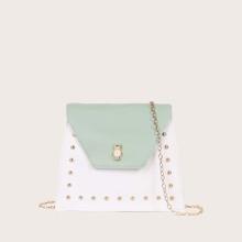 Studded Decor Colorblock Crossbody Bag