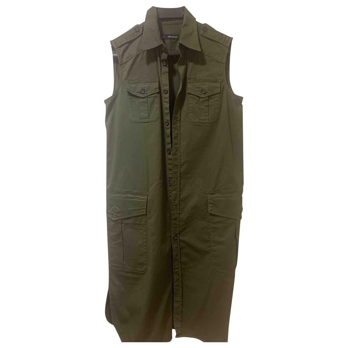 Dsquared2 \N Kleid in  Khaki Baumwolle
