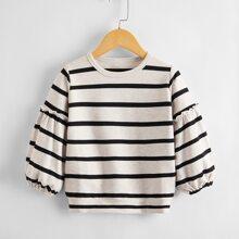 Sweatshirt mit Streifen Muster und Bischofaermeln