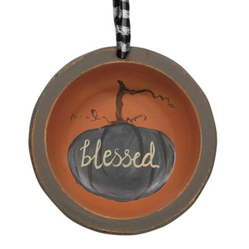 Grateful Thankful Blessed Pumpkin Hanger 3 Asstd. - Orange (Orange)