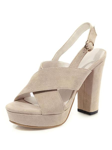 Milanoo Sandalias de tacon alto Suede Black Open Toe Slingbacks Block Sandalia de tacon Zapatos para mujer