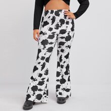 Plus Cow Print Flare Leg Pants