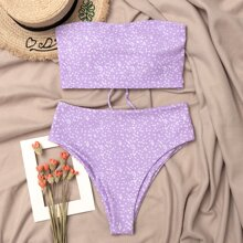 Bandeau Bikini Badeanzug mit Gaensebluemchen Muster und hoher Taille