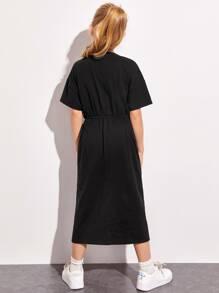 Girls Bow Waist Striped Tape Dress