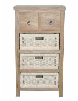 Safari Collection TB-2130C 20 Occasional Table with Teak Wood Construction  2 Drawers and 3 Rattan Baskets in Natural