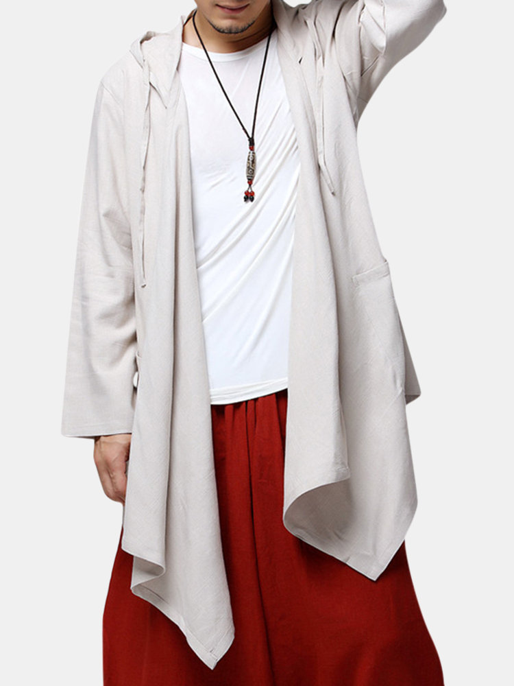 Mens Chinese Style Mid-long Hooded Jacket Cotton Solid Color Cardigans