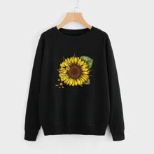 Sweatshirt mit Sonnenblumen Muster und rundem Kragen