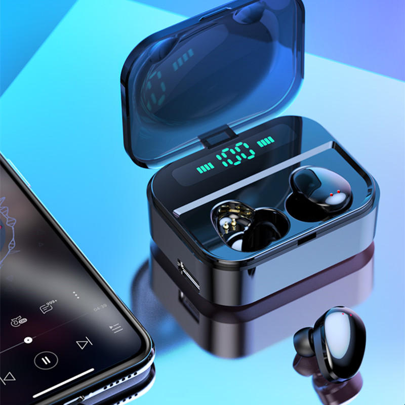 Mini TWS Earbuds bluetooth 5.0 Earphone Three Digital Display Stereo Waterproof Handsfree with 3600mAh Power Bank