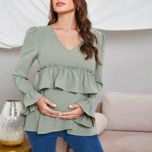 Maternidad top unicolor ribete fruncido de cuello V