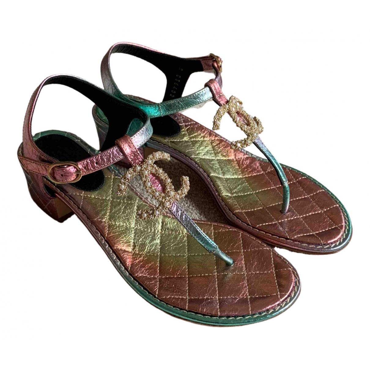 Chanel - Sandales   pour femme en cuir - multicolore