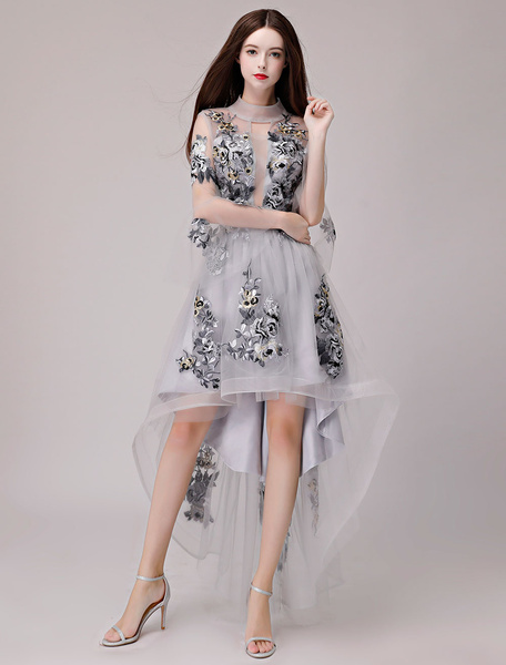 Milanoo Cocktail Dresses Lace Applique Asymmetrical Tulle Graduation Party Dress