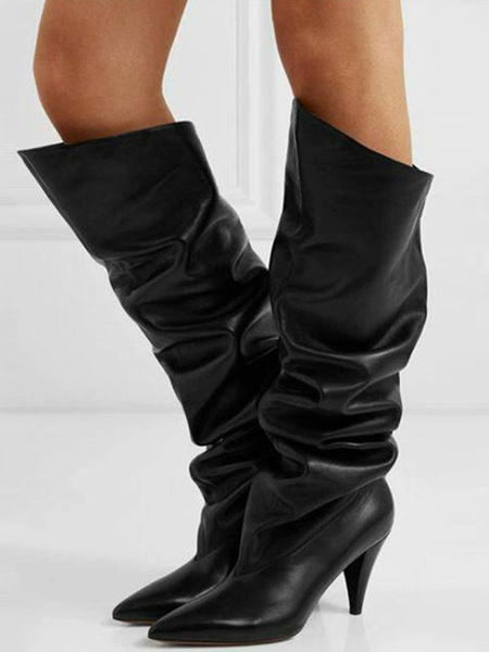 Milanoo Knee High Boots Black PU Leather Pointed Toe Chunky Heel Slouch Boots For Women