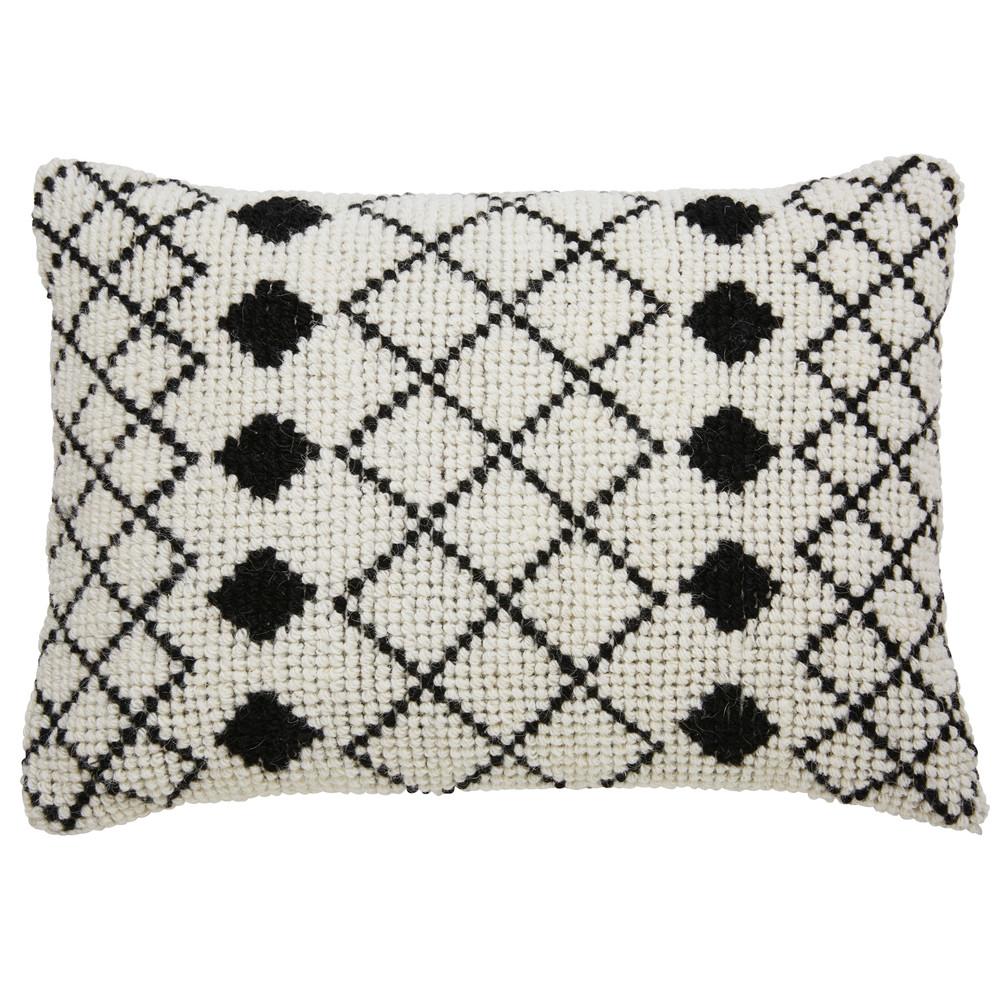 Kissen aus ecrufarbener Wolle und Baumwolle mit schwarzen Motiven 40x60