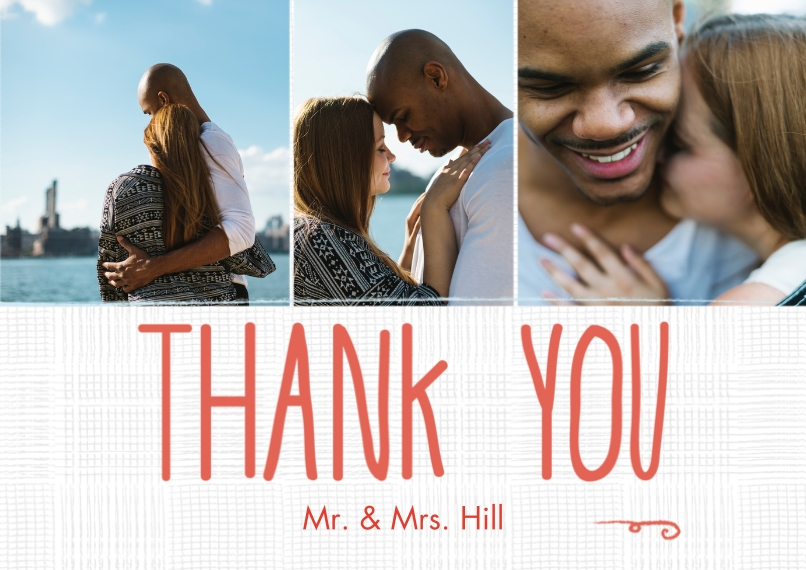 Wedding Thank You Flat Matte Photo Paper Cards with Envelopes, 5x7, Card & Stationery -Hanging Banner Thank You Mr. & Mrs.